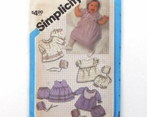 Vintage 80's Simplicity Babies Wardrobe Sewing Pattern 6504 - Dress with panties and cap - size 6 months