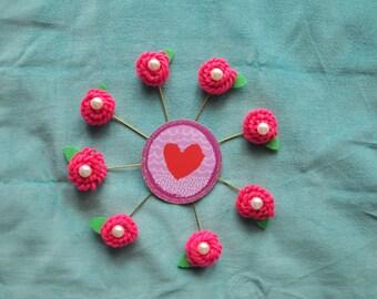 Pink Round Flower Pin