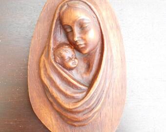 Vintage Français sculpté Sculpture de la Vierge Marie et enfant-Jésus...