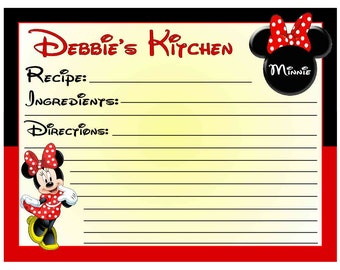 20 Personalized Minnie Mouse RECIPE CARDS ~ FREE Shipping