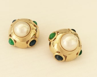 Vogue Bijoux Earrings-Vintage Faux Mabe Pearl Clip-On- Green & Blue Cabochons -Gold Tone Setting-Wedding,Mother of the Bride,Costume Jewelry