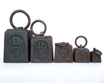 Antique Weights, Ring Weights, Iron Weights, Antique Kitchen Weights, Iron And Lead Weights, Kitchen Decor, Imperial Weights, Set Of Weights