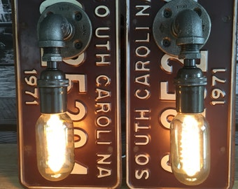Steampunk Industrial 1971 South Carolina License Plate Pipe Lamp Sconce Pair