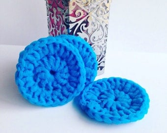 Crochet Kitchen Scrubbie - Pot Scrubber - Nylon Kitchen Scrubber - Bright Blue - Set of 3 - Eco Friendly - Dish Scrubber