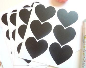24 Heart Shaped Chalkboard Blackboard Reusable Stickers 5.5cm