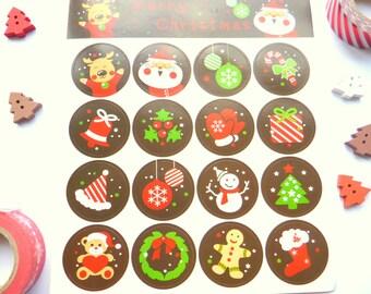 32 Round Christams Santa Snowman Stickers 3cm