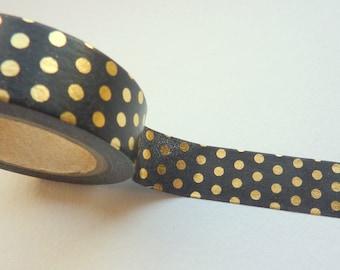 Gold Foil Polka Dots on Black Washi Tape 15mm x 10m