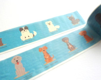 Dogs on Blue Washi Tape 30mm x 5m