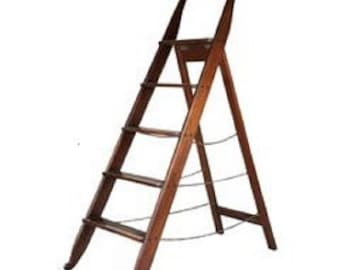 19th Century Library Ladder Antique Reproduction Step Ladder