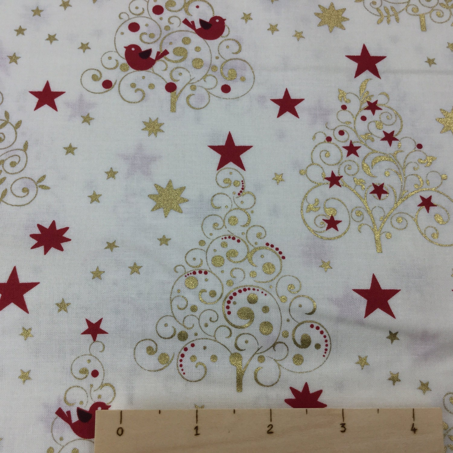 Red And Gold Christmas Trees: Gold Christmas Trees On Cream Christmas Fabric Cotton Red