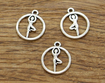 50pcs Yoga Charms Pendants Meditation Charms OM, OHM, Antique Silver Tone 19*16mm TS458
