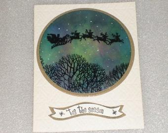 Aurora Borealis Northern Lights Santa Christmas Card Greeting