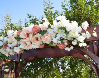Wedding Arch, Wedding Archway Swag, Wedding Ceremony Swag, Wedding Arch flowers, Peony Rose Arch, Coral Arch, Mantle Swag