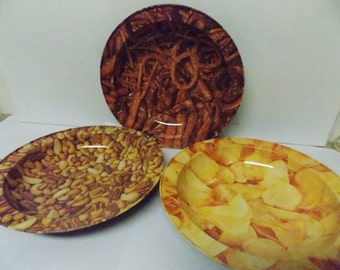 Vintage Set of Metal Party Serving Snack Bowls Mixed Nuts Pretzels & Chips Set of 3