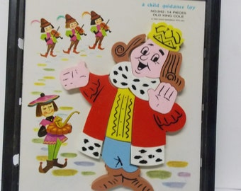1962 Child Guidance Magnetic Puzzle No 942 Old King Cole 14 pieces Nursery Rhyme