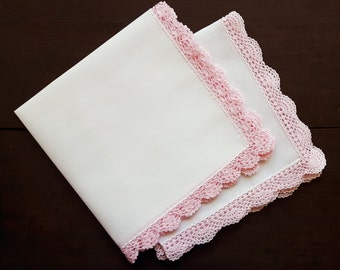 White cotton handkerchief vintage with handmade lace, set of two