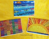 Blank Note Cards, ArtQuilt Greeting Card Set, Sunshine Greetings, Colorful, Cheerful Note Card Set