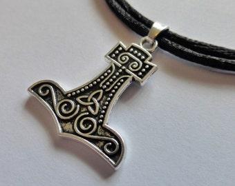 Silver Thors Hammer Pendant - Mjölnir Pendant - Adjustable Black Choker Necklace - Celtic - Mens Necklace - Unisex - Viking - Pagan