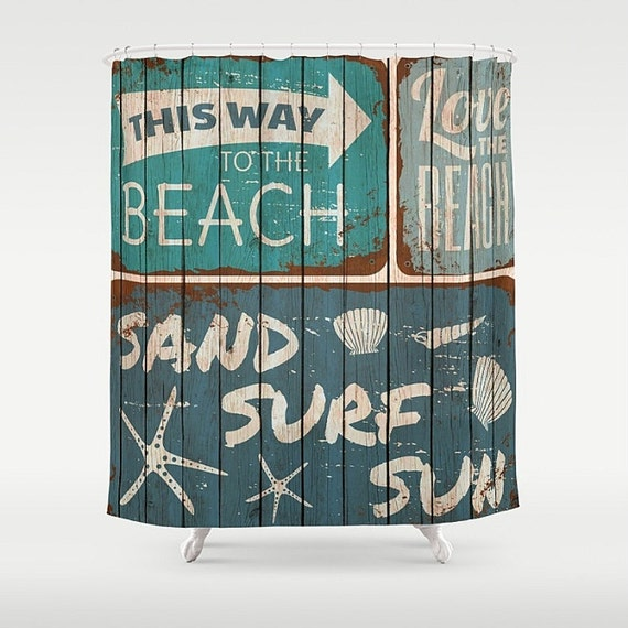 Beach Shower Curtain Rustic Sign Faux Wood By Folkandfunky