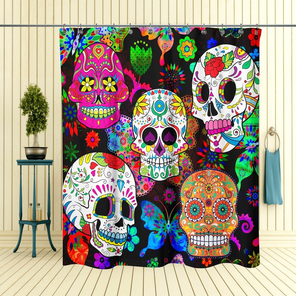 sugar skull shower curtain day of the dead by folkandfunky. Black Bedroom Furniture Sets. Home Design Ideas