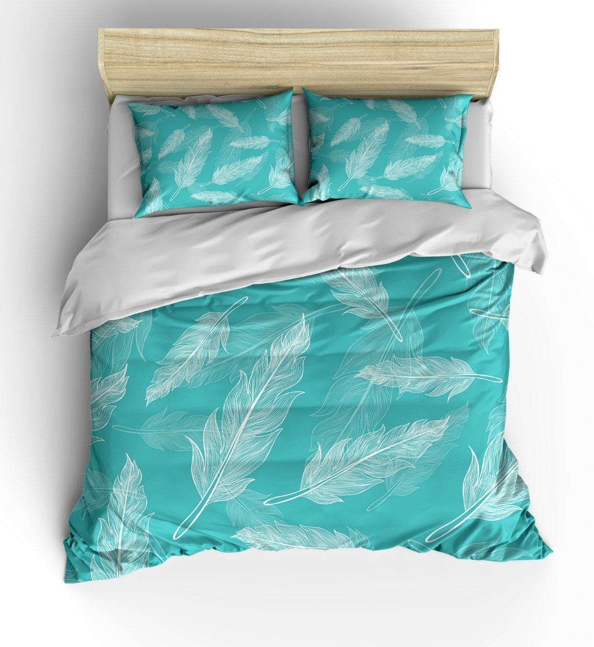Teal Feather Design Bedding Duvet Setluxe Weight Comforter