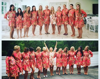 Coral Large Floral Blossom Bridesmaids Robe Sets | Kimono Robes. Bridesmaids gifts. Getting ready robes. Bridal Party Robes. Dressing Gowns