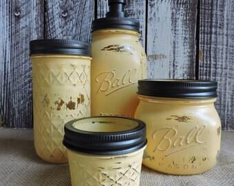 Mason Jar Bathroom Set, Sunflower Yellow, Rustic Mason Jar Bath Set, Bathroom  Set