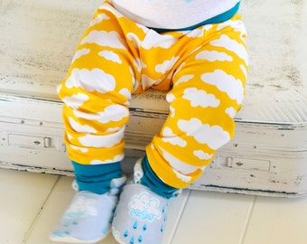 Toddler Pants, Big Butt Pants, bright yellow jersey knit pants, Baby leggings SUNSHINE & CLOUDS. Gender Neutral, Bright and Bold!!