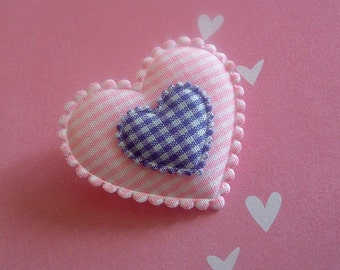 Heart Pin ~ Pink and Purple Gingham Plaid