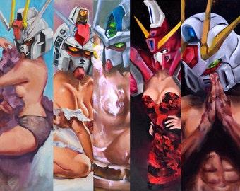 Gundam Pinup Art. Anime Painting. Gundam Art Print. Gundam Anime Art. Mancave Decor. Gifts for him. Sexy Anime Poster. Anime Pinup Painting