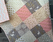 Baby girl deer quilt, brambleberry ridge, glitz, pink-gray-grey-gold sparkle