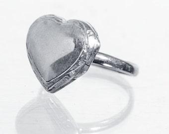 sterling heart shaped locket ring