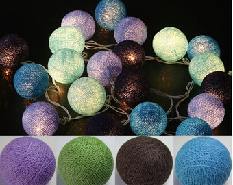 20 Ocean Blue mix Cotton Ball String Lights Fairy Lights Christmas Lights