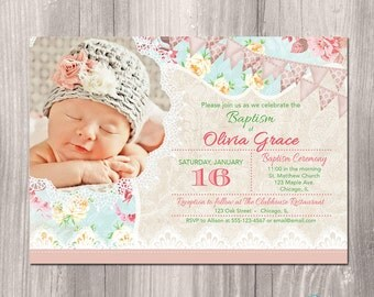 Baptism Invitation girl, Christening Invitation, Dedication, First Communion, Shabby chic, girl baptism invite, digital, floral, Printable