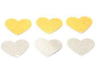 gold and silver heart confetti, heart confetti, party decor, wedding confetti, party confetti, confetti
