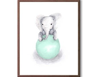 Elephant Wall Decor, Baby Decor, Art For Children, Kids Room Art, Baby Gift, Elephant, Art Print - E389W