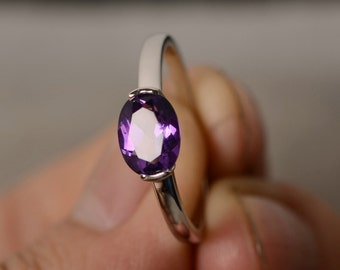 Natural Amethyst Ring Oval Cut Solitaire Ring Sterling Silver February Birthstone Ring Purple Gemstone