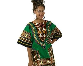 African Dashiki Green Medium size