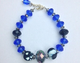 Dark Blue Glass Bead Bracelet
