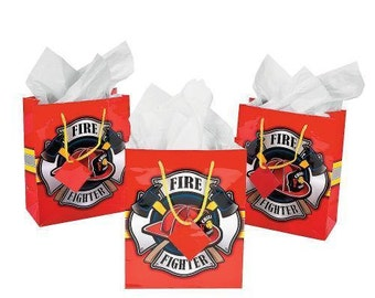 Colorful Bright Red Firefighter Party Favor Or Gift Bags Fireman Theme Bags - Medium Size - Purchase Individually Here!!
