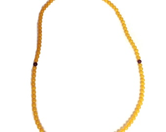 Burnt Yellow Lucite Prayer Bead Necklace