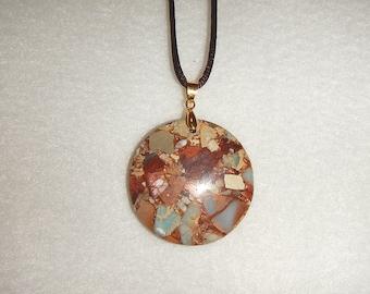 Round Blue Snake Skin Jasper pendant necklace (JO288)