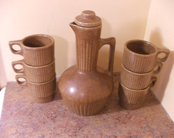 Vintage 1960s Monmouth Pottery Coffee Server w/Lid and Six (6) Stacking Coffee Mugs
