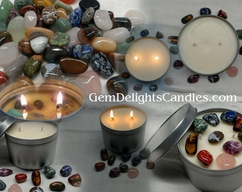 Tumbled Gemstones Treasure Soy Wax Candle Tin Wood Wick or Cotton Wick Gem Delights Candles Hidden Treasure Inside ~ Gift Giving