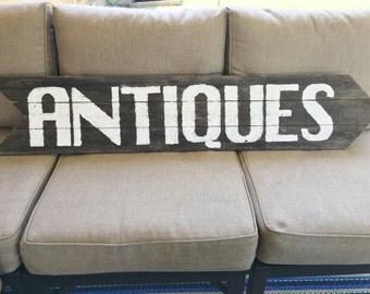 Vintage Inspired Large ANTIQUES Sign