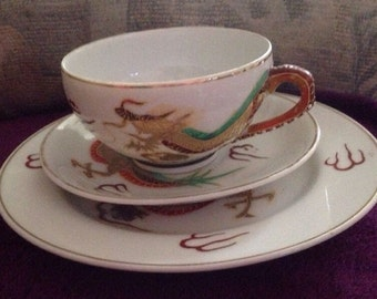 yamasan japanese porcelain cup saucer and side plate x2 very pretty
