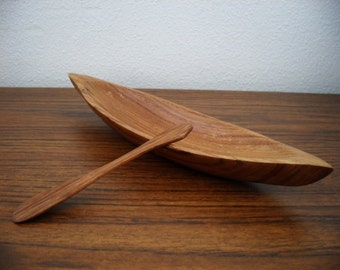 Vintage Wood Canoe With Paddle