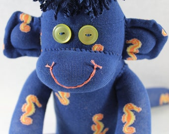 Sock Monkey / Seahorses / Blue Yellow Coral / Blue and Yellow / Gift for Him / Gift for Her / Nursery Decor / Seahorse Decor / Ocean Decor