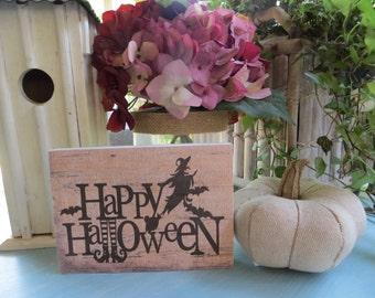 "Wood Halloween Sign, ""Happy Halloween"", Halloween Decorations, Halloween Home Decor, Cute Halloween Sign"