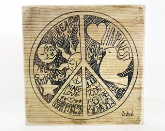 Home Living, peace and love, peace decor, rustic wall decor, wooden articles, wooden decor, wooden peace sign, wooden wall art, Iskob